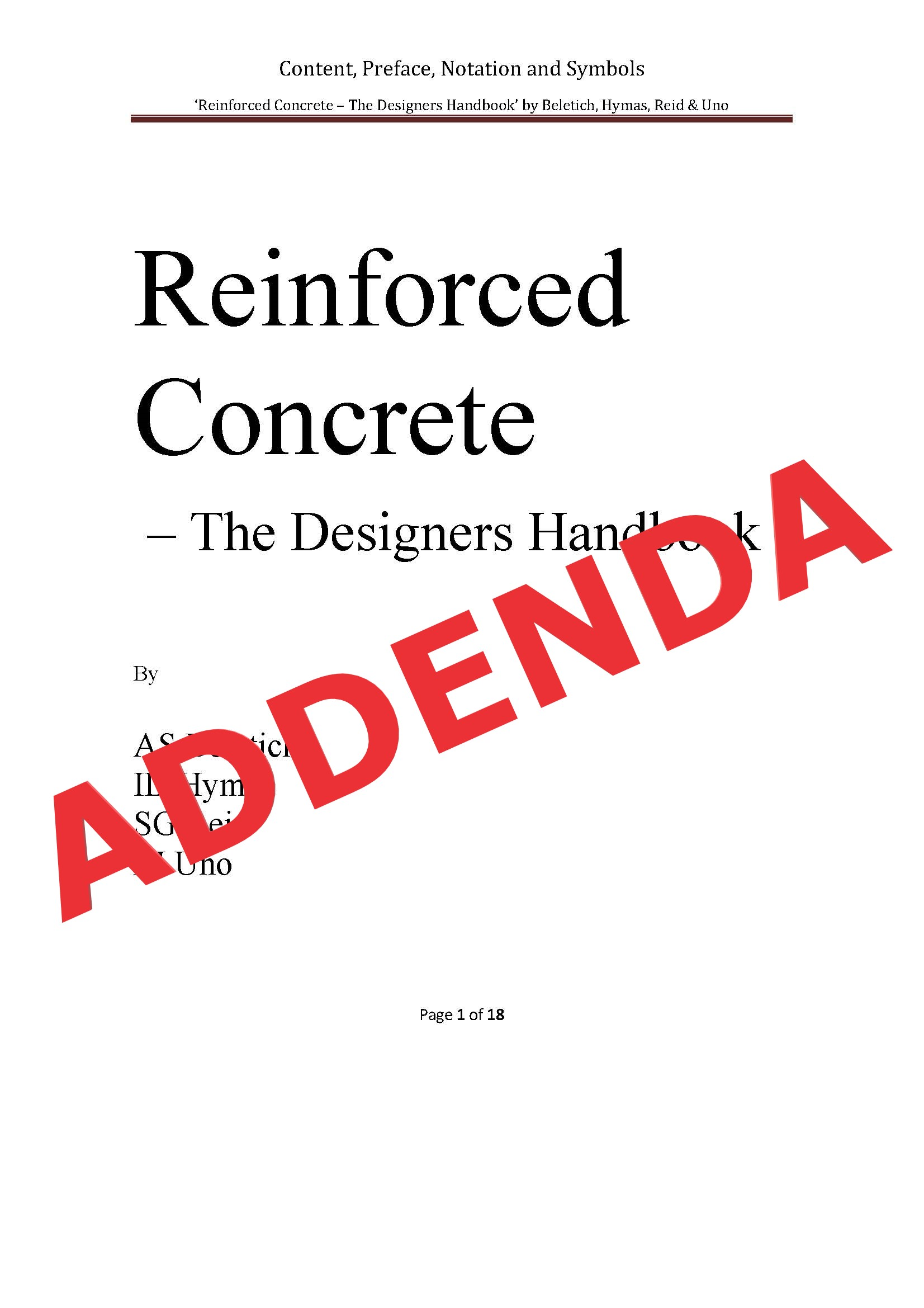Addenda to 'Reinforced Concrete: The Designers Handbook'